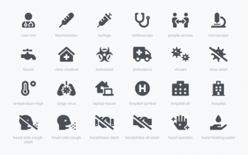 Fontawesome Covid 19 Awareness Icons
